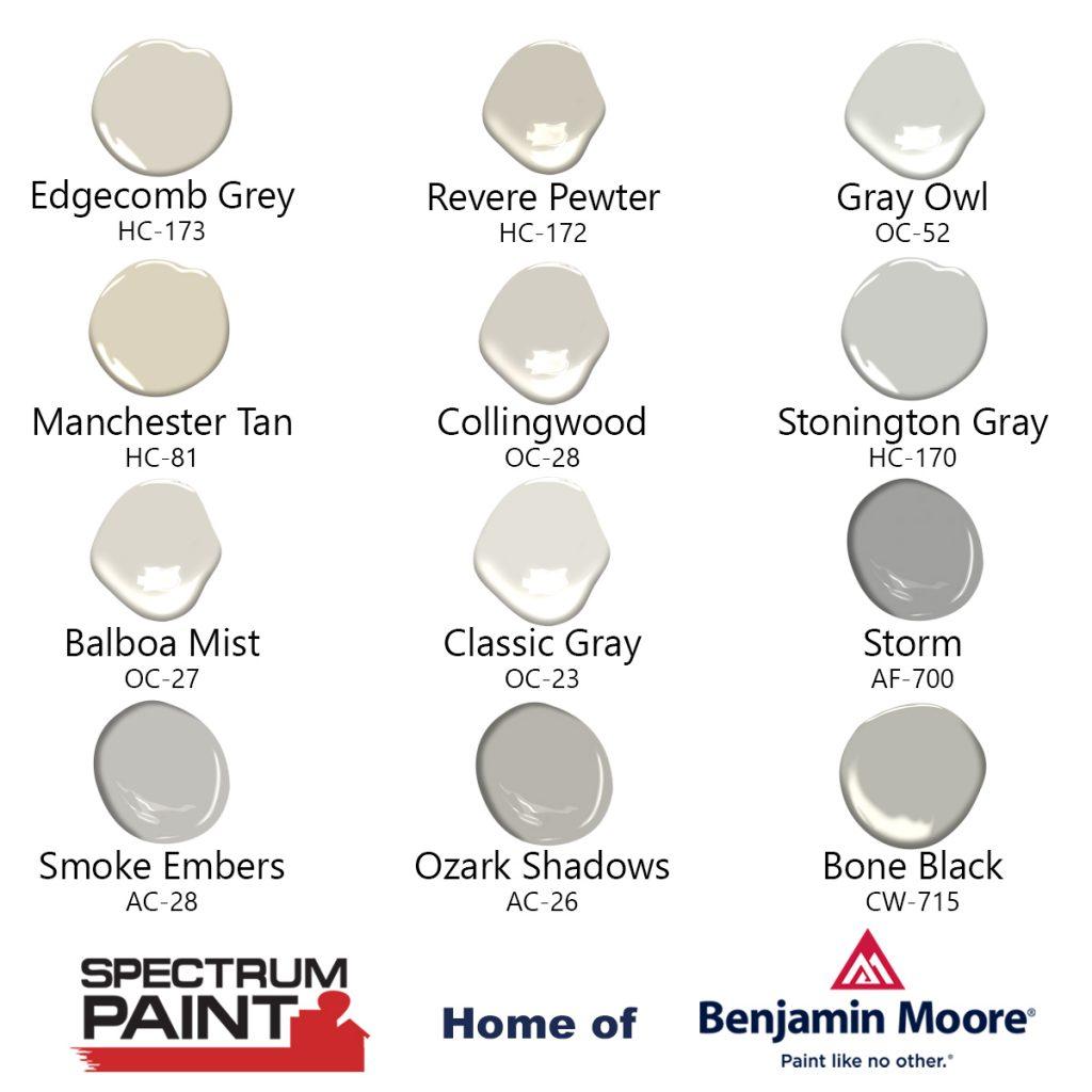 Spectrum Paint Benjamin Moore Top 12 Neutrals
